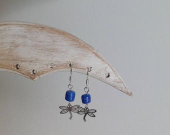 Earrings in silver with Dragonfly and blue glass bead