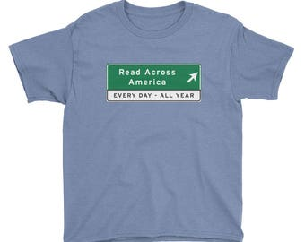 Kids Read Across America Road Sign T-Shirt reading school literacy dr seuss education curriculum  books library reading specialist