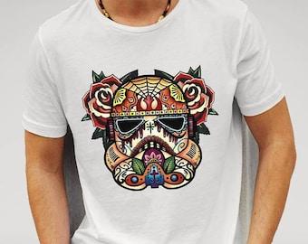 Star Wars Storm Trooper Sugar Skull - White T-shirt