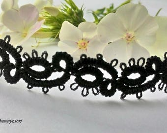Black lace necklace, Tatting jewelry, Lace necklace, Gothic, Choker, tatted choker necklace, lace choker,