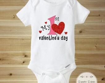 Valentines Day Onesie, Baby 1st Valentines Day, Cute Valentines Day Onesie, My First Valentines Day, First Valentines Day Onesie, Be Mine