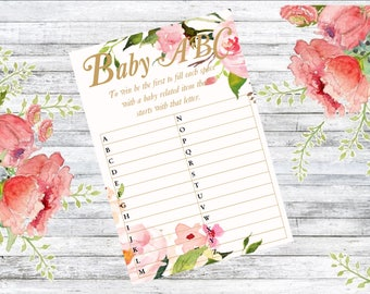 Baby Shower alphabet game pack of 10