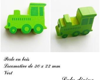 30 x 22 mm wood bead, Pearl flat Train / Locomotive: Green