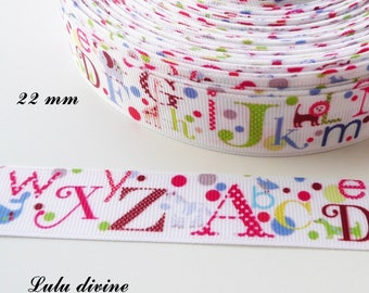 22 mm multicolored Alphabet white grosgrain Ribbon sold by 50 cm