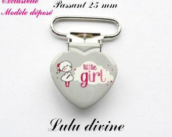 1 heart pacifier clip grey cloud little girl Little girl from 25 mm