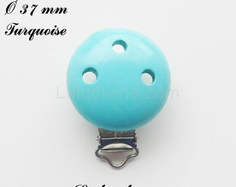 Clip / wooden pacifier Clip, Ø 37 mm from loop: Turquoise