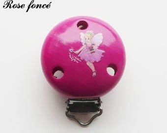 Clip / buckle, wooden pacifier Clip, fairy: dark pink