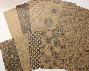 """assortment of 15 cm x 15 cm theme printed kraft paper """"geometric floral"""" for scrapbooking and cardmaking"""