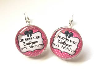 "Original & unique earrings ""I'm a colleague who torn"" personalized, derision, blue, pink, polka dots, bow, humor"