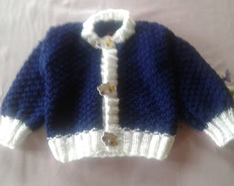 Navy blue vest and white for baby 6 months