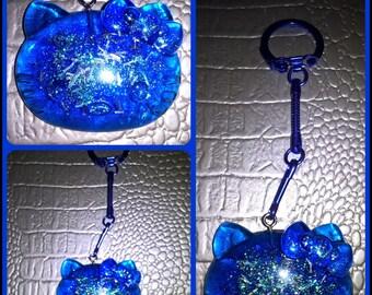 Blue translucent resin Hello Kitty key ring
