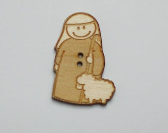 7 buttons decorative Shepherd and sheep Maplewood 2.5 cm - set of 7 buttons maple wood with Shepherd and sheep