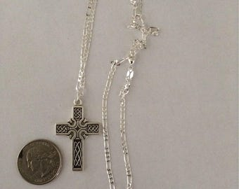 Celtic cross sterling silver with chain