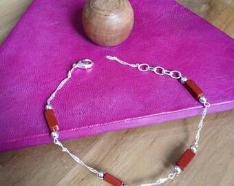 Natural stone bracelet chain red Jasper 925 sterling silver