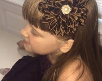 4 inch satin, brown flower headband