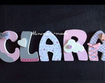 Decorated wooden name and personalized Clara