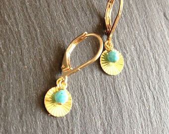 short earrings gold and turquoise