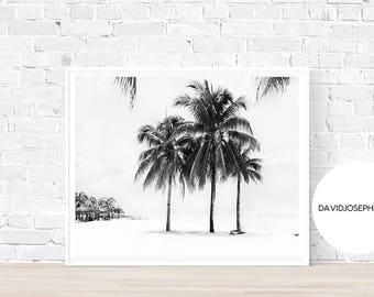 Palm Tree Print, Black and White, Ocean Print, Summer Print, Digital Print, Palm Poster, Palm Wall Art, Tropical Print, Instant Download
