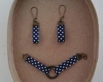 Set bracelet and earrings Navy white polka dots