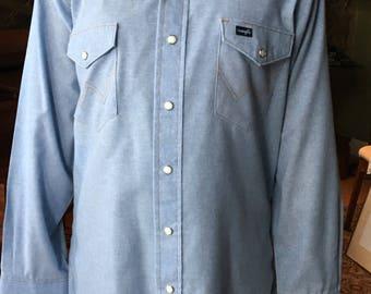 Vintage Wrangler Pearlsnap Button-up Blue Jean Denim