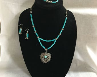 3 Piece Turquoise and Tube Bead Jewellery Set