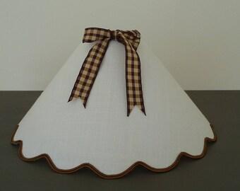 lamp shade scalloped white linen
