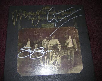 Crosby Still Nash Young Signed LP Deja Vu Neil Young Gram