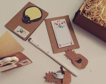 Cute Cat stationary gift sets, memo pads, pin badges, pen, perfect gift for any crazy cat lady! Happy box filled with kitty things!
