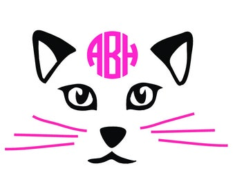 Cat svg file SVG  Cat Monogram Initials SVG Digital cutting file