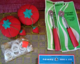 Vintage tomato pin cushions and accessories