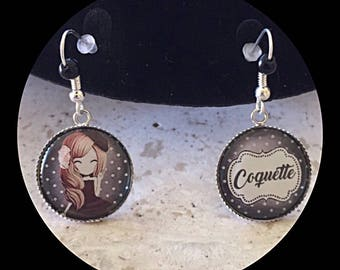 "Earrings cabochon ""Coquette"" theme"