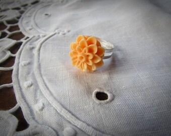 Adjustable - light ORANGE color resin flower ring