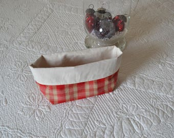 Pouch red and off-white Plaid reversible