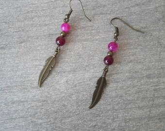 Feather earrings bronze earrings Pink Purple Pearl ❤ handmade ❤
