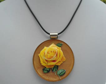 3D yellow rose necklace