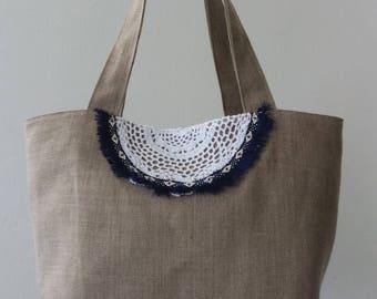 """Beach Boho """"Hohokams"""" bag. Linen / stripe blue"""