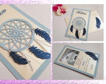 Announcement dream catcher feathers and rhinestones - Dreamcatcher - birth or christening boy