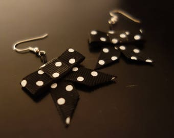 Fraisichou earrings large black bow with white polka dots