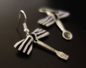 Earrings Fraisichou table! Bow and spoon and fork