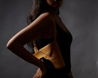 Faux Leather Beige Holster Purse
