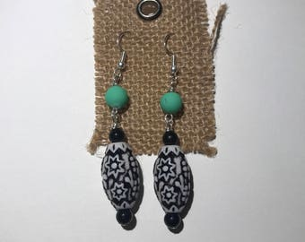 Black and White Acrylic Bead Earrings
