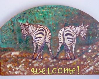 Acrylic painting on wood: welcome: zebras