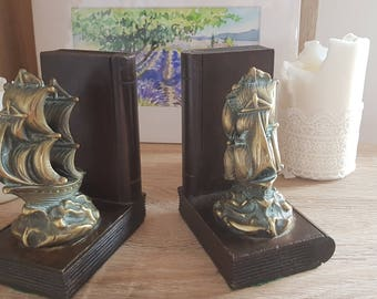 Vintage galleon bookends