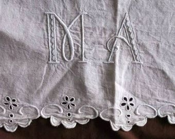 Laeken. Antique French linen sheet with monogram MA with embroidery anglaise vintage bedsheet drap ancien