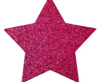 10 X 9.5 cm hot pink glittery star fusible pattern