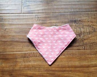 Bandana Bib, Baby Girl Bandana Bib, Terry Cloth, Baby Gift, Baby Girl Bib, Pink Bib,