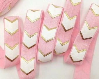 Elastic hair ties by yard pink gold headband new 2018 babygirl girl accsesories handmade