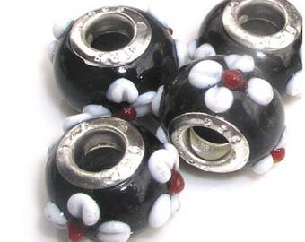 SET OF 5 BLACK WITH WHITE FLOWERS GLASS BEADS