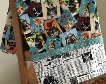 Breaking Mews (cat newspaper print pillowcase)
