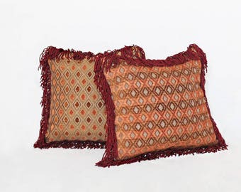 """Diamond in the Rough Reversible Tapestry Fringe Throw Pillow 15"""" x 15"""""""